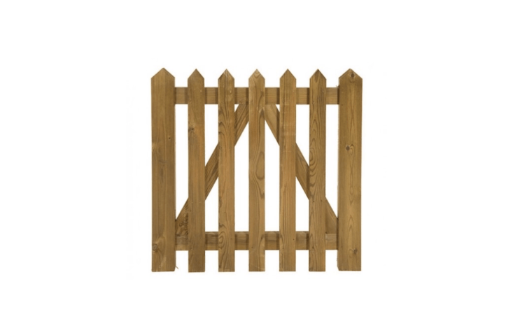 With an A-frame brace that&#8\2\17;s a sturdy variation on the standard zig zag brace, Palisades Gates are available in custom sizes. See Chase Timber Products for information and pricing.