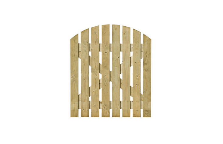 A Grange Timber Dome Path Gate made of pressure-treated-FSC-certified sawn timber is £50 at B & Q.