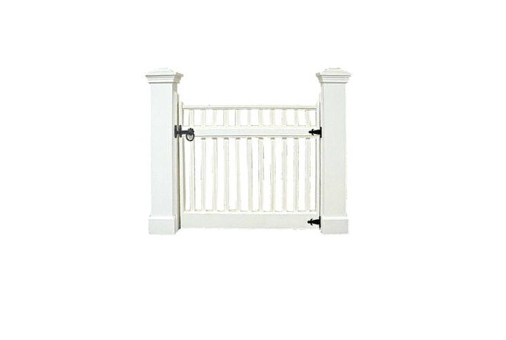 A Cambridge Picket Gate (shown mounted on 5-inch Classic Picket Posts) is made of clear kiln dried western red cedar and has stainless steel fasteners. Shown here in white, it can be ordered with any custom stain color or is available in natural wood. See BrattleWorks for information and pricing.
