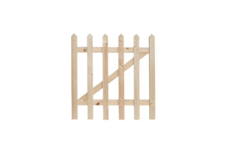 Wide-spaced pickets create an airy design. A Palisade Pointed Top Timber Gate kit comes with pickets, rails, nails, and instructions (Posts, Hinges and Latch sold separately). It is £\28 from Wickes.