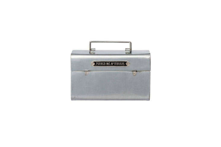 My personal favorite (this is the toolbox I bought recently) is from Puebco, a Japanese utilitarian company we&#8\2\17;ve featured on Remodelista before: the \100-percent Steel Toolbox is small (9 by \1\1 by 5 inches) from Chandal in Barcelona via Trouva.