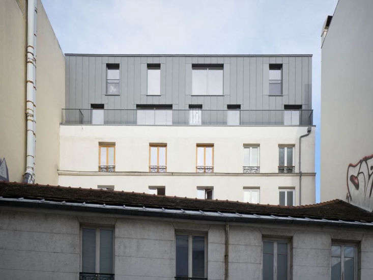 Paris-based design firm Septembre works with Farrow & Ball colors most often. Says architect Lina Lagerstrom, the firm has recently used Castle Grey (shown on topmost façade; an archive F&B color but still available at Kent Blaxill), Pavilion Blue, and Hague Blue. Photograph of the Léon Surelevation project in Paris, France by David Foessel courtesy of Septembre.