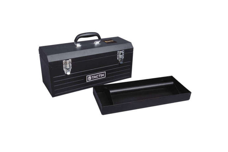 For a really rugged and industrial option, though still good-looking, the Tactix  Inch Steel Tool Box in dark navy blue is one of the largest on our list; it&#8