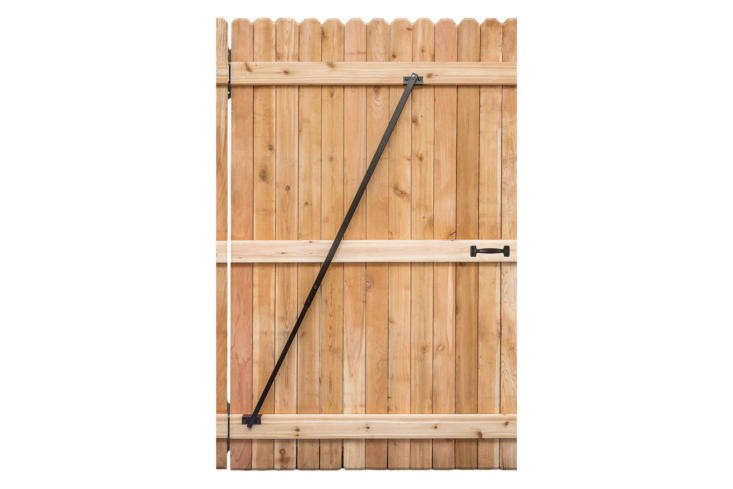 "Made of tubular steel and powder-coated to resist the elements, the Gate Brace is 43 inches wide. (It is not intended for ""corner to corner"" installation; see photo for illustration). The brace kit comes with four wood screws and six self-tapping metal screws for installation; $38.95 from Amazon."