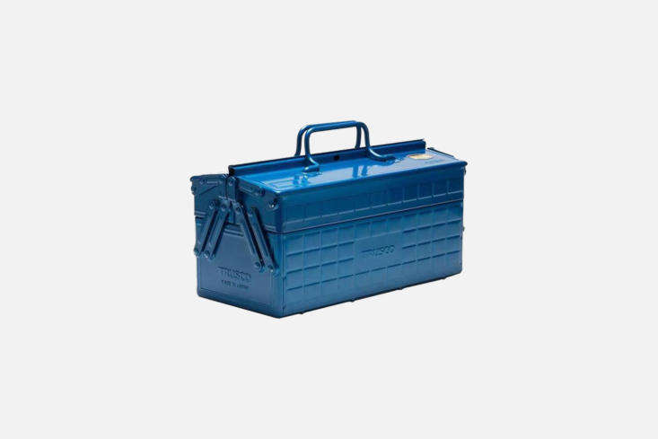 The larger Trusco Blue Cantilever Toolbox is common in Japan; it has a cantilever mechanism and comes in bright textured blue steel; £\130 at Labour & Wait.