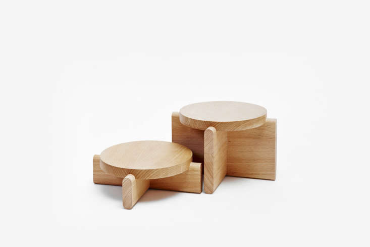 Designed by Pete Oyler for Areaware, Plant Pedestals in beech wood are made of lap joinery; $50 for a set of two (tall and short) pedestals at Areaware.