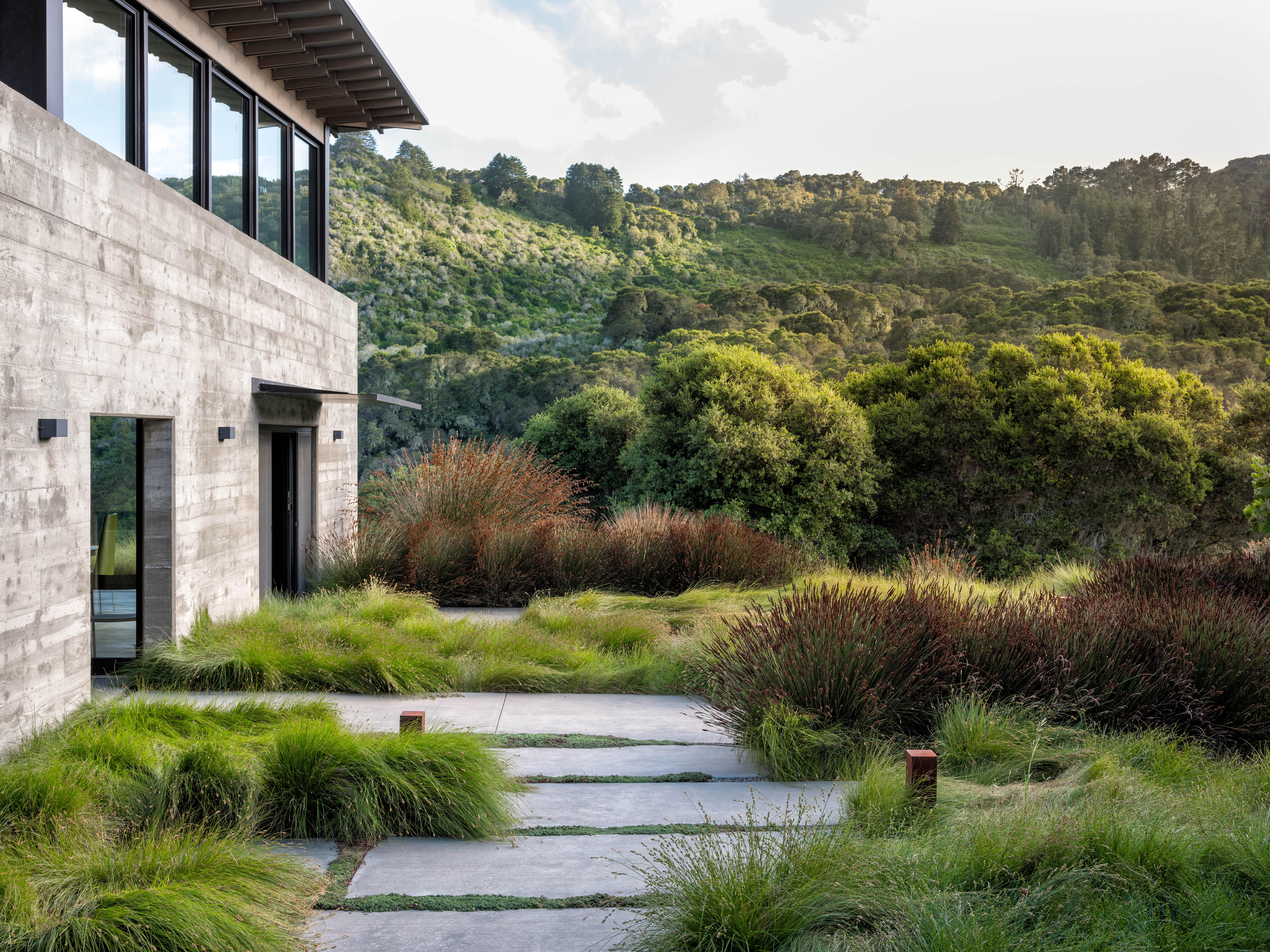 Drifts of bright green grasses (Carex divulsa) edge the path. Lighting designer Kim Cladas chose unobtrusive bollard lighting fixtures from Germany-based SLV&#8