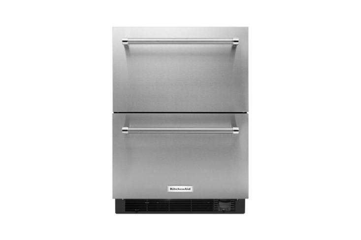 A dorm-sized but sophisticated-looking KitchenAid Double Drawer Refrigerator Freezer; \$\2,699.\10 at The Home Depot.