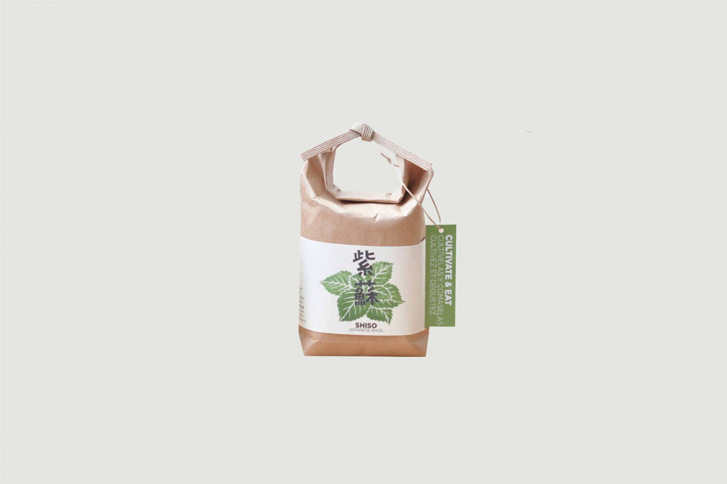 From Japanese brand Cultivate & Eat, a Mini Vegetable Growing Kit includes a plastic-lined paper bag modeled after a traditional rice bag, potting mix, and seeds. Shown here is the Shiso kit; also available are Wasabina greens and Hawk Claw peppers, each £7.99 each from Paper Tiger in the UK.