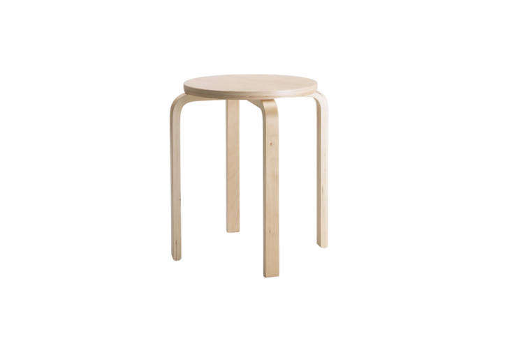 For a good-looking option on a budget, Ikea's versatile Frosta Stool, a riff on designer Alvar Aalto's famed Aalto Stool 60, is made of birch and $.99 at Ikea.