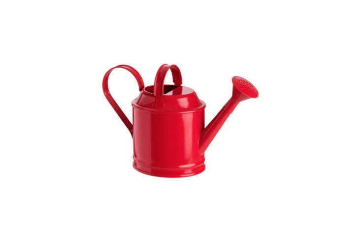 The fire engine red IKEA Socker Watering Can is available in two sizes (shown in small) for $4.99 and large for $loading=