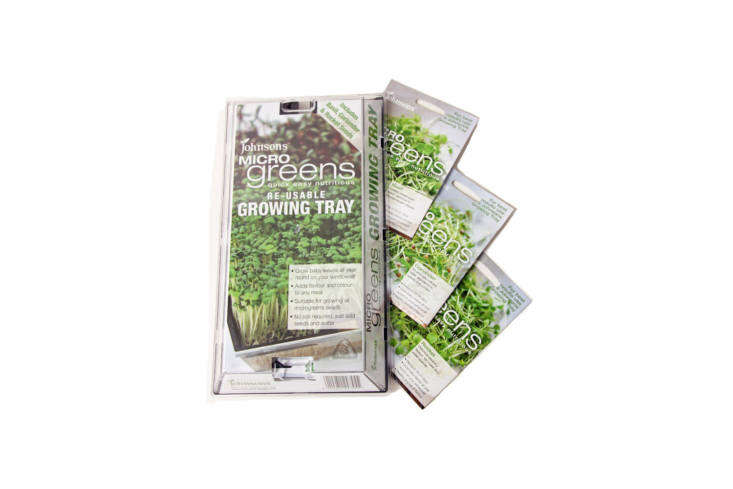 The super-simple and low-tech Johnson&#8\2\17;s Microgreens Growing Tray comes with coriander, arugula, and basil seeds to grow microgreens; £6 each from Kew Gardens in London.