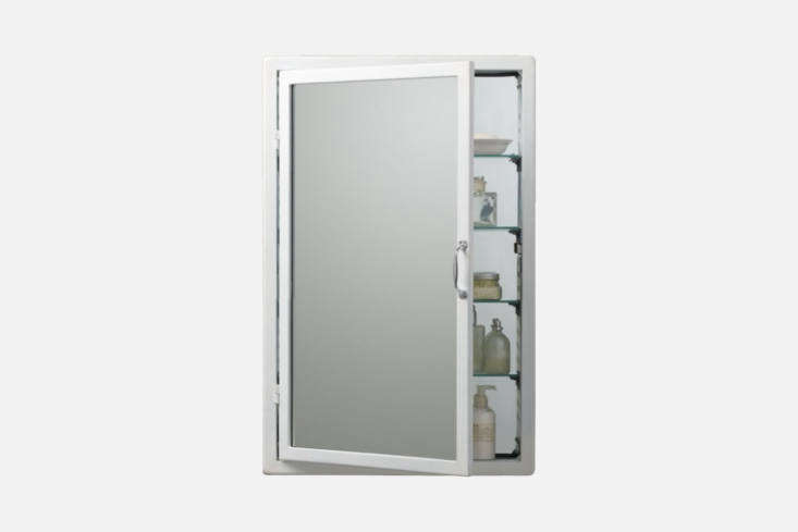 TheRestoration Hardware Pharmacy Wall-Mount Medicine Cabinet is made of steel and glass shelves (with a mirror inside as well); \$5\25 to \$7\25 and available in White, Burnished Steel, and Black.