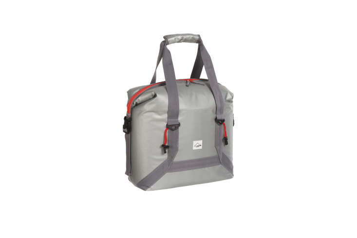 The Alpine Mountain Gear \24 Heavy-Duty Tarpaulin Cooler is a soft shell PCV cooler bag with a waterproof lining and space for \24 \1\2-ounces cans; \$39.99 at Sierra.