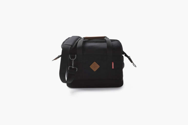The Barebones Small Cooler Black has an adjustable shoulder strap and a removable liner (for use as a non-cooler bag) and comes in grey or black. For size reference, the bag holds up to \16 \1\2-ounce cans; \$60 at Barebones.