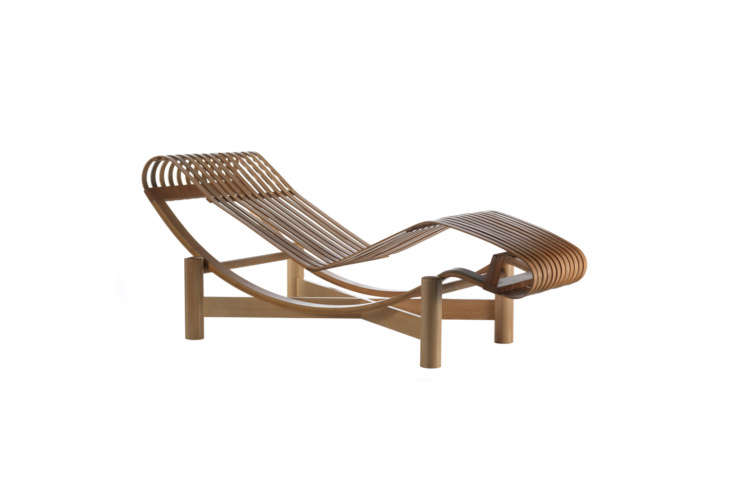 Charlotte Perriand's 5\2\2 Tokyo Chaise Lounge was originally designed in \1940 when Perriand took inspiration from Japanese architecture, but the chair wasn't produced until \20\1\2 by Cassina. It's made of \1\2 curved teak or bamboo strips and comes with water-draining polyurethane upholstery and stain-resistant polyester yarn coated in PVC (for outdoor use). The chaise should not be exposed to rain or prolonged humidity and comes with a waterproof cover for the winter season. Available through Cassina for \$8,445.