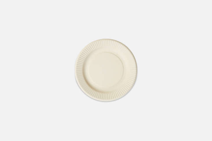 The White Bamboo Plate is made from a bamboo and melamine blend but looks like a typical paper plate; €7.50 each at Merci.