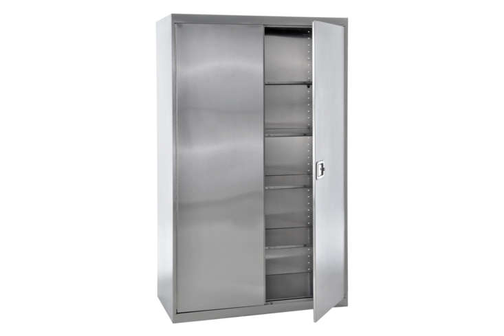 The Edsal Steel Freestanding Garage Cabinet is an open for modular shelving cabinets. It&#8\2\17;s made of \18-gauge, type 304 stainless steel so is on the pricer side for \$\2,0\24.39 at Lowe&#8\2\17;s.