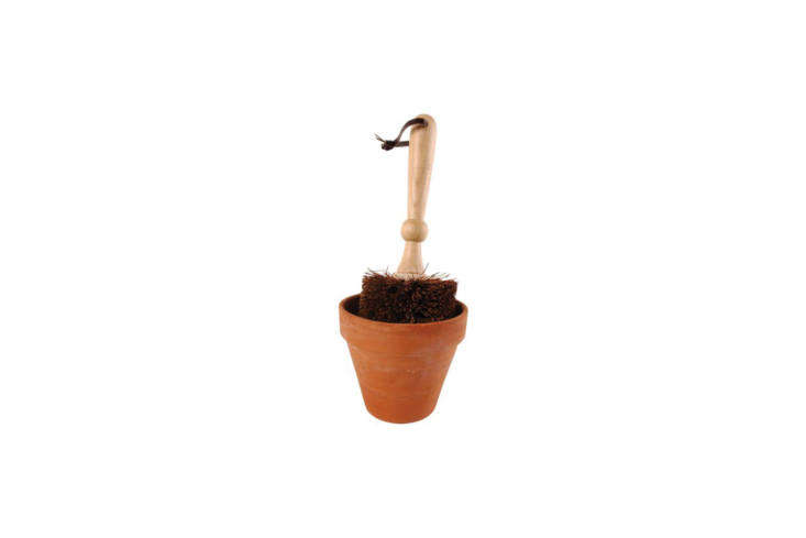 The Esschert Design Flower Pot Bristle Brush is good for dusting off the interior of old pots and comes with a little leather tie for hanging on a rail; \$\15.99 on Amazon Prime. For more see our postGarden Shed Essentials: Flowerpot Brushes.