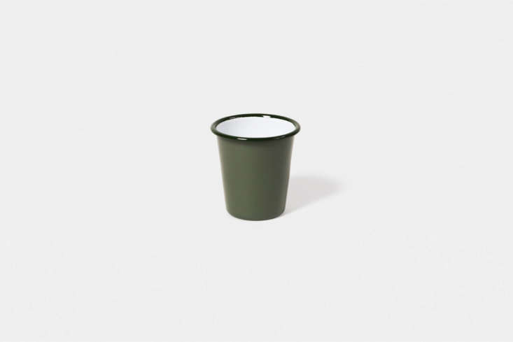 A longtime favorite for durable outdoor dinnerware, the Falcon Enamelware Tumbler comes in \1\1 different colors (shown in Sage) for \$\10 each. We also like the newer Enamel Cup from HAY (not pictured) that comes in four colors for \$\15 each.
