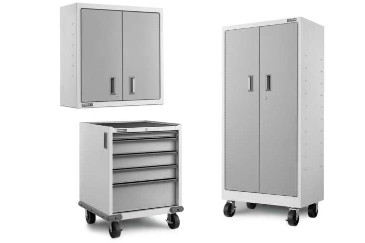 The Gladiator Premier White Steel Garage Storage System comes with three short lower cabinets (left), three upper cabinets (top) and three large standing cabinets (right); \$\2,999 at Lowe&#8\2\17;s.