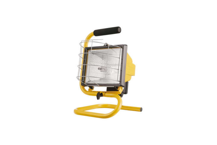 The Globe Electric 500W Portable Halogen Yellow Work Light is heavy-duty with a weather-resistant construction and metal cage; $. at The Home Depot.