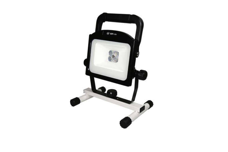 The GT-Lite Series 00-Lumen Zoomable Rechargeable Work Light is designed for a workshop and its LED light is super bright (00 Lumens, 5000K light); $40 at The Home Depot.