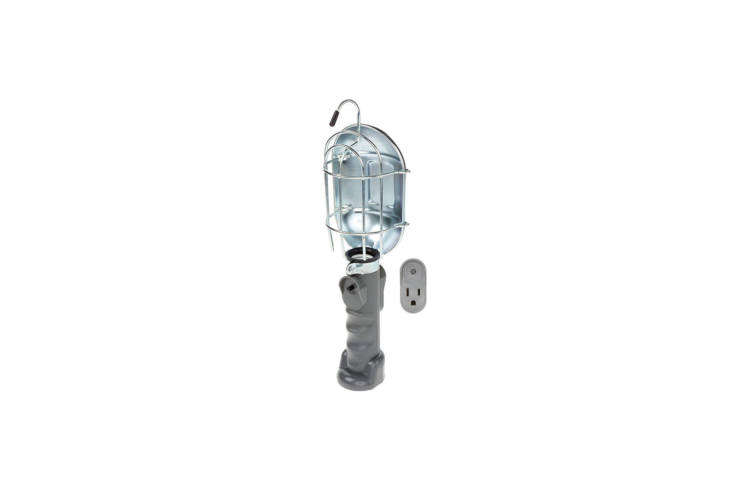 The HDX Incandescent Trouble Work Light has  feet of cord and comes with a metal bulb guard; $