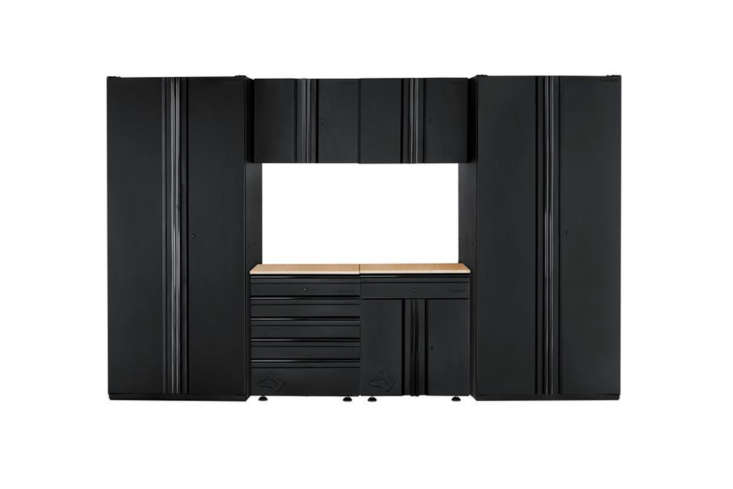 The Husky Heavy Duty Welded Steel Garage Cabinet Set in black has 6 pieces and is \$\1,499.98 at The Home Depot.