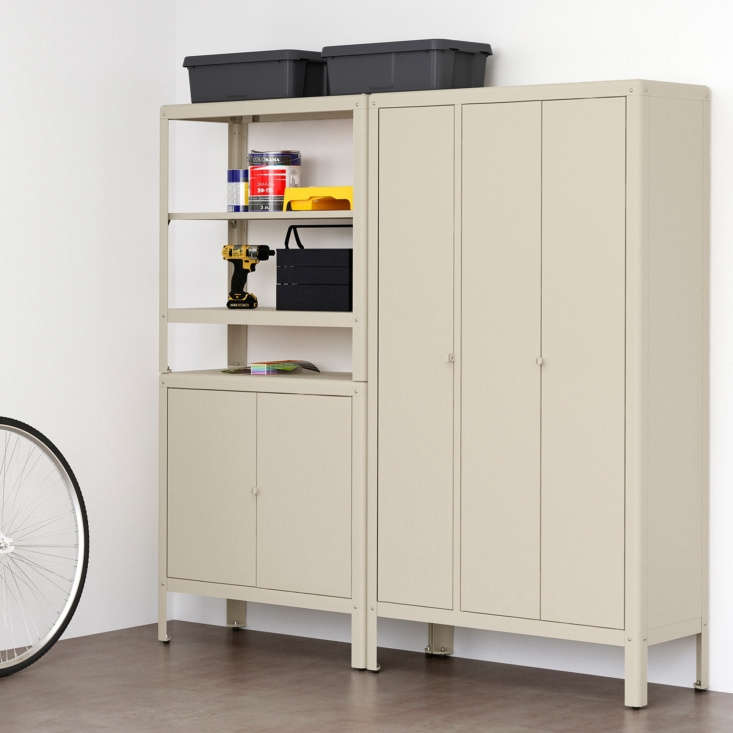 The new Ikea Kolbjörn Shelving Unit with \2 Cabinets has perforated shelving for airflow, a clothes or fabric rail with clips, and shelving;\$\247 at Ikea.