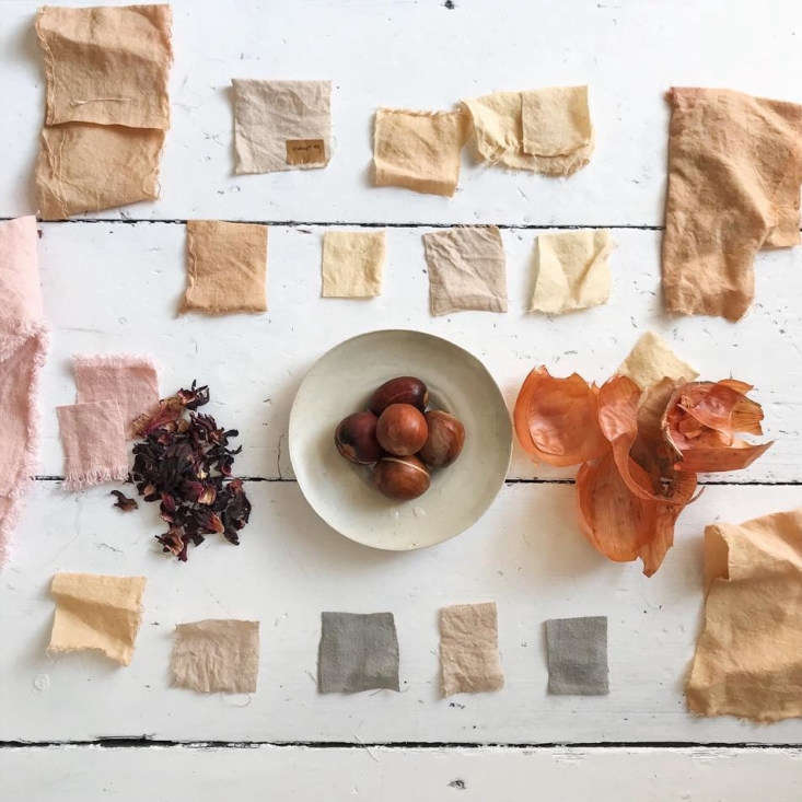 Dublin-based designer Kathryn Davey experiments with natural ingredients, such as tea, avocado pits, and onion skins, to create dyes for limited-edition tea towels, string bags, and other textiles.