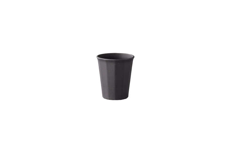 From the Alfresco Collection by Kinto the Bamboo Melamine Glass in Black is made from a blend of both materials (it&#8