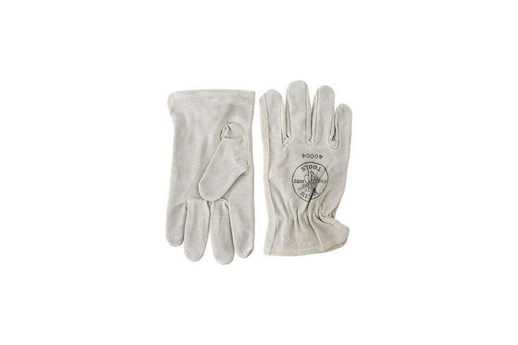 The Klein Tools 40004 Cowhide Driver&#8\2\17;s Gloves made of white sueded cowhide are available in medium and large for \$\16.06 on Amazon Prime. (The small size is available from other sellers on Amazon that aren&#8\2\17;t associated with Prime shipping.)