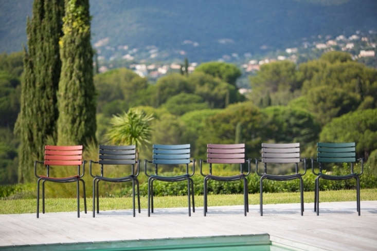 Made of powder coated aluminum, a Clips Dining Armchair comes in six colors and is $380 at Curran Home.