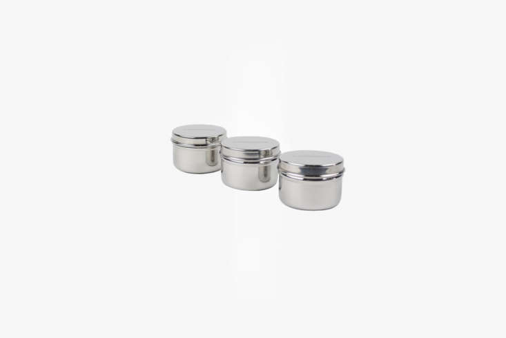 A 3 Pack of Stainless Steel Mini Food Containersis good for storing small snacks (like olives) and keeping salad dressing separate and contained; \$\18.95 atPackage Free Shop.