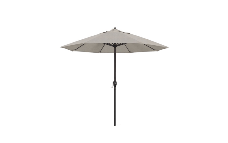A 9-foot Aluminum Auto Tilt Crank Lift Patio Umbrella is available in \19 colors including Granite as shown; \$\1\1\1.04 from Target.