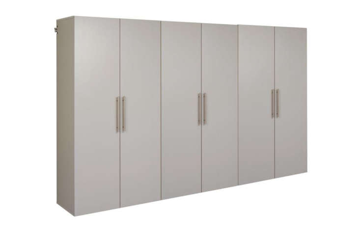 The Prepac Light Gray Wall-Mounted Storage Cabinet Set is \$\1,054.77 at The Home Depot.