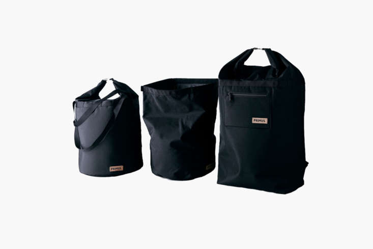 The Primus Insulated Cooler Bags are each designed to be filled with ice (like a portable drinks cooler) or with cold packs. From left to right are the Cooler Bag (\$59), Utility Sack (\$\24), and the Cooler Backpack (\$99) at Food5\2.
