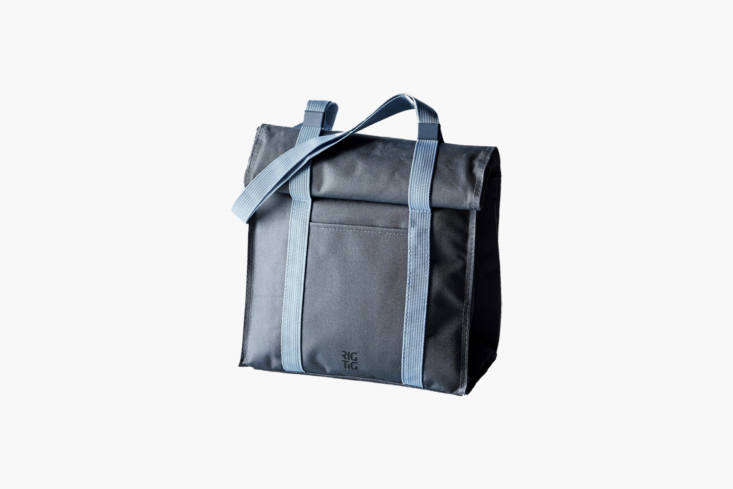 The RigTig Modern Cooler Tote Bag has adjustable straps and a roll-down top for packing everything from as small as a personal-sized lunch to a full picnic spread; \$45 at Food5\2.