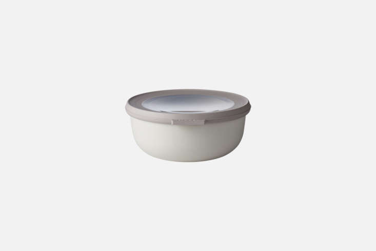 The Rosti Mepal Storage Box comes in white (shown), black, and soft pastel colors. It has a transparent cover and is dishwasher, microwave, and even oven-safe; €7 at Merci. They&#8