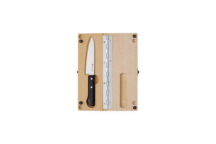 It&#8\2\17;s always a little scary packing a knife to go but if you have any charcuterie involved in your picnic (or an apple or anything that requires more force than a butter knife), it&#8\2\17;s an essential. I have the Snow Peak Cutting Board Set Medium. It&#8\2\17;s perfect because the knife stows away in the cutting board itself; \$39.95 at Snow Peak.