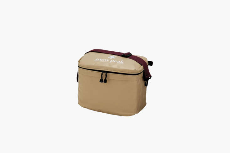 The Snow Peak Soft Cooler \18 is made with an inner aluminum coating to reflect heat away and keep the cold in. It holds 4.75 gallons and is \$96.95 at Snow Peak.