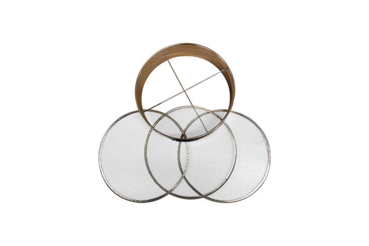 The 4-Piece Soil Sieve Set made with a stainless steel frame is \$34.95 on Amazon Prime. Read more about the tool in our postGarden Riddle: What's Round, and Sifts Twigs?