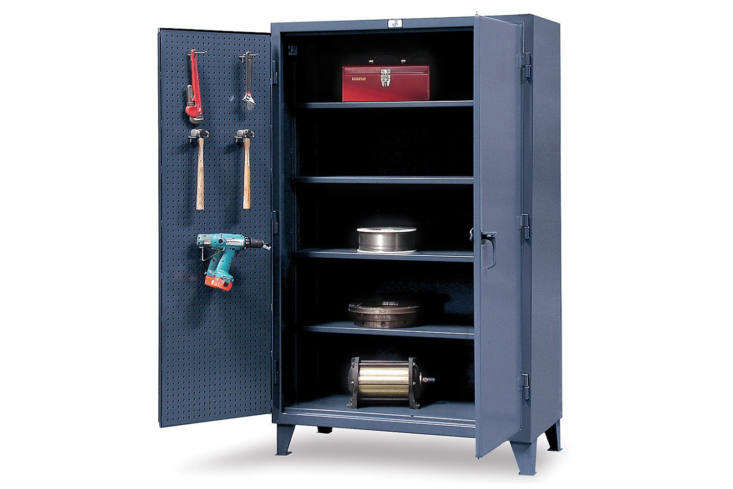 The Strong Hold Pegboard Cabinets, shown in Dark Gray, have pegboard on the inside cabinet doors for hanging tools. It&#8\2\17;s made of heavy-duty \1\2-gauge steel and is \$3,3\25.\28 at Amazon.