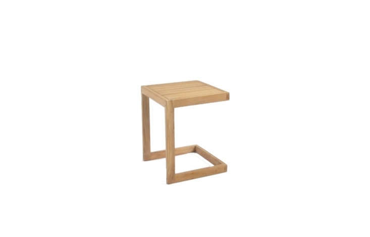An A-Grade Teak C-Table is \20 inches high and \16 inches square;\$\199 from Teak Warehouse.