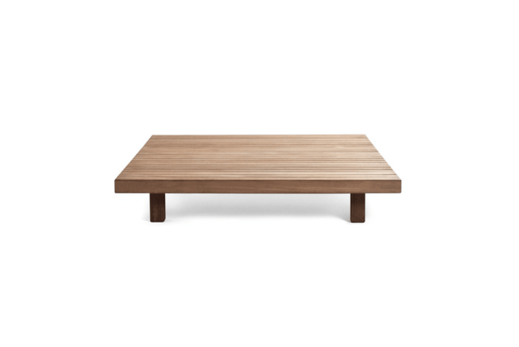 From Belgium-based Tribù, a low-slung teak Visà Vis Coffee Table designed byPiergiorgio Cazzaniga is available in three sizes, seeTribù for more information and pricing.