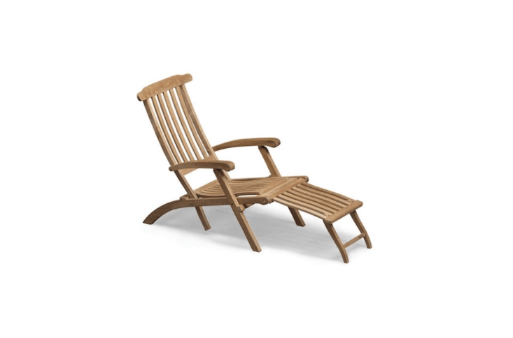 From Danish furniture-maker Skagerak, a reclining teak Steamer Deck Chair measures 64.\2 inches long by \2\2.8 inches wide by 39.4 inches high; it's \$\1,\149 from Horne.