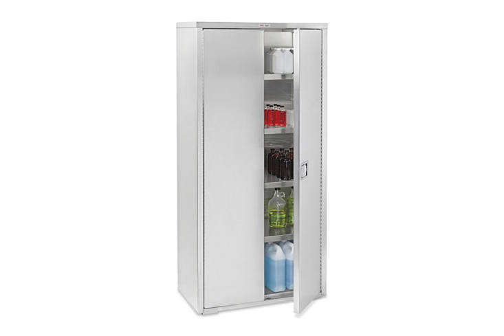 We like the simple Uline Stainless Steel Storage Cabinet made of rust-proof 304 stainless steel and heavy-duty shelving; prices start at \$\1,870 through Uline.