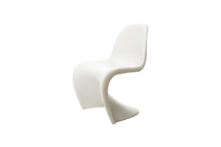 Another Verner Panton design, the Panton Chair, shown in White, was designed in 60 from durable colored polypropylene with a matte finish. It has an ergonomically shaped seat, is suitable for outdoor use, and still manufactured through Vitra; $3 at Finnish Design Store.