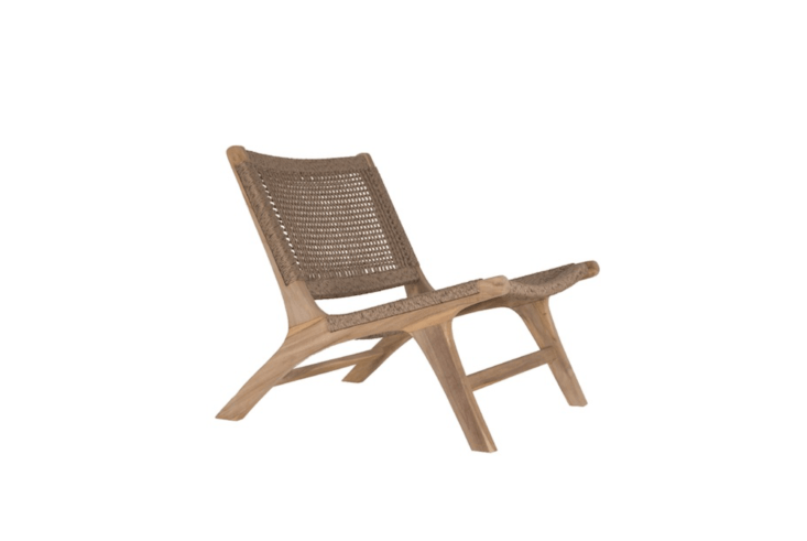With a frame made of ethically sourced teak, a Cape Town Lounge Chair has a water-resistant poly-rattan seat and backrest; \$995 AU from Green Design Gallery.